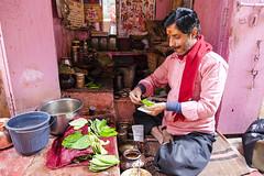 Pink Paan shop (Dick Verton ( more than 12.000.000 visitors )) Tags: paan betelshop pink man india varanasi traveling asia streetview streetlive
