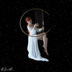 The Sound of the Stars (Elis's ☾) Tags: music song prop handmade self selfportrait autoritratto portrait portraiture ritrattistica photoshop black universe stars star stelle fondale nero harp zither redhead girl ragazza donna woman fairy fairytale favola faerie fairyland galaxy dress fashion photooftheday pic picoftheday picture fantasy fantastic fantasia fantastique magia magic play suonare square funny white retouch adobe painting dipinto film ginger like redwoman redgirl beautiful beauty bellissima universo fineart art arte artistic portfolio conceptual concettuale 2470mm canon5dmakr3