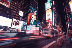 Broadway & Timesquare (Laurent DZQ) Tags: newyork landscape paysage winter hiver city cityscape night nuit building skyline américains america usa cabs tourists pubs ads spangledbanner canon5d 5dmarkiv 5d4 1635mmf28 lightroom lights lumières cold froid ville megalopole bigapple voitures bâtiment