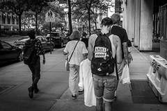 Backpack Label (Phil Roeder) Tags: newyorkcity nyc blackandwhite monochrome leica leicax2 manhattan street