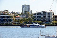 800_5491 (Lox Pix) Tags: queensland qld australia architecture crane catamaran river rivercat boat brisbane bird bridge building brisbaneriver boats ship yacht loxpix landscape rivertraffic