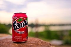 Fanta Strawberry Soda (brev99) Tags: d610 tamron35f18vc can soda fanta stone ledge backgroundblur ononesoftware on1photoraw2018 nikviveza colorefex huesaturationlightness