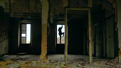 Demolition Girl (Jay/Be) Tags: parody dance ombre silhouette yellow jaune urbex street outline building bâtiment débris gravat p2b désaffecté disused perspective line ligne tag position light lumière ruine
