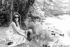 The most beautiful smile in the world (elidos13) Tags: canon canonlens canon6d canonef canoneos6d 24105mm 24105 woman beauty beautiful blackandwhite bw smile hat donna sorriso portrait ritratto bellezza mirano veneto femininity foresta acqua f4 sunglasses