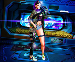 Cyborg (elocuenciaresident) Tags: hair hairbase tableau vivant collier addon kinky skin glam affair malina applier catwa tag top ricielli tank m lara shorts jacket addams desert military minishort new sneakers bleich kasumi pacific tmd backdrop minimal cyberpunk capsule 8 leg {psychobyts} cyberneon destiny gacha