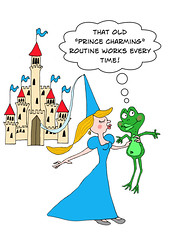 Kiss a Frog at Your Own Risk! (Ivan Kaminoff) Tags: fairytale princess frog kiss prince cartoon castle photoshop digital wacom