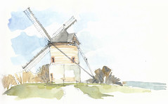 Watten, Nord, France (Linda Vanysacker - Van den Mooter) Tags: watten nord france 2016 watercolor watercolour visiblytalented vanysacker vandenmooter tekening sketch schets potlood pencil lindavanysackervandenmooter lindavandenmooter drawing dessin croquis crayon art aquarelle aquarell aquarel akvarell acuarela acquerello frankrijk moulin mill molen