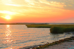 Ocean City Sunset (die Augen) Tags: canon sl2 sunset sea grass sky sun water sand landscape