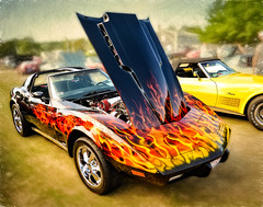 Spindles Annual Car Show (CapeCawder) Tags: chevy marshfieldfairgrounds topazimpression flamesoncars digitalphotoart on1perfecteffects carshow classiccars sportscar capecawder photoart topaztextureeffects chevrolet corvette corvettestingray spindlesannualcarshow