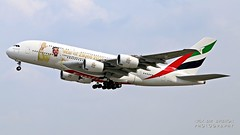 """A6-EUA Emirates Airbus A380-861 """"Year of Zayed 2018"""" s.c. (Nick Air Aviation Photography) Tags: img2390 a6euaemiratesairbusa380861yearofzayed2018sc aviationphotography takeoff milanmxpairport speciallivery"""