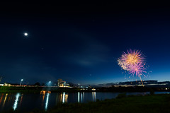 Fireworks with moon and triangle (kat-taka) Tags: star moon fireworks river blue stream landscape festival fire sunset magic glass sky