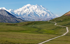 The Road Through Denali (Alex E. Proimos) Tags: denali national park preserve mount mountain mckinley blue sky perfect day no clouds mt wikipedia tour weather rain winter summer spring stunning top 40 100 ny times travel best destinations abigfave