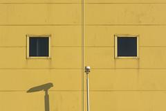 Two windows and a street lamp (Jan van der Wolf) Tags: map185269v windows ramen facade gevel gebouw lines streetlamp streetlight straatlantaarn shadow shadowplay schaduw lijnen dissymmetry