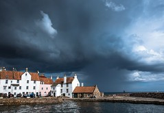 On the waterfront. (AlbOst) Tags: pittenweem harbours ports fishingports fife waterfronts clouds cloudy clearingskies scottishfishingvillages villages villagesbythesea riverforth