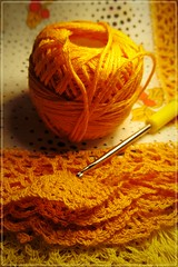 ready for crocheting! :) (green_lover (I wait for your COMMENTS!)) Tags: lace wipes thread smileonsaturday crochet crocheting orange frame textile fabric thechallengefactory