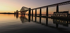 the Bridge (johnny_9956) Tags: forth rail railway scotland buildings sunset night lights reflection
