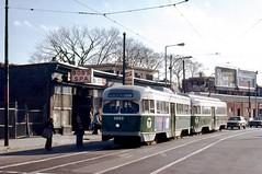 MBTA PCC 3053-3059 SouthSt at BoyntonSt Dec1976 (ironmike9) Tags: mbta transit publictransit track rail lightrail trolley streetcar tram pcc bostonma