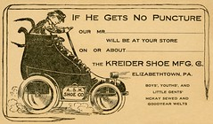 If He Gets No Puncture—Kreider Shoe Manufacturing Company, Elizabethtown, Pa. (Alan Mays) Tags: ephemera postcards advancecards salescallcards willcallcards advertising advertisements ads paper printed shoes askreider kreider askreidershoemanufacturingcompany askreidershoecompany kreidershoemfgco askshoeco manufacturers salesman salesmen men travelingsalesmen salescalls clothes clothing goggles caps hats coats samples samplescases cases suitcases autos automobiles cars shoemobiles shoeautomobiles punctures flattires flats humor humorous funny comic fillintheblanks illustrations borders amusing elizabethtown pa lancastercounty pennsylvania antique old vintage typefaces type typography fonts
