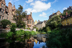 Dean Village, Edinburgh (p.mathias) Tags: deanvillage edinburgh scotland river stream history unitedkingdom city village leith waterofleith sony csc a5100 europe bluesky historical green tree sky water building