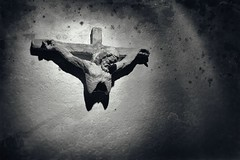 Cavae Deus (The Hollow God) (DrCuervo) Tags: aperture3 dead dying emptiness hollowgod monochrome nikond300 promises silverefexpro2 stationofthecross tamronaf1750f28xr stained atheist