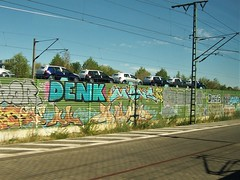 Volkswagen cars and street art - on train near Leipzig (TeaMeister) Tags: europe train rail seat61 interrail germany leipzig deutschebahn railwaystation bach eastgermany ddr europeanunion eu brexit goethe faust architecture