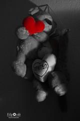Love (Andrej_Filipovski) Tags: love bear monkey heart red black white contrast filipovski nikon d3200 1855 indoors happiness happy smile stuffed animal animals gift treasure