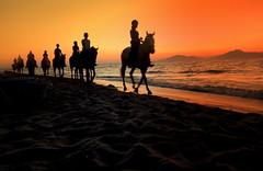 Sunset on Marmari Beach - Kos, Greece (Justyna Z.) Tags: horse sunset beach greece kos marmari sun sea summer rider people