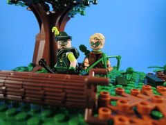 Father Son Bonding (-Metarix-) Tags: lego minifig dc comics green arrow connor hawke archer quiver forest father son diorama family