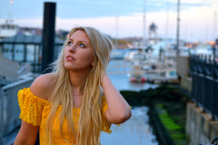 Kertu Harbor 8 (TheseusPhoto) Tags: girl female woman model modeling portrait portraiture beautiful blonde pretty dress sexy shoes heels elegant gorgeous colors colorsoftheworld harbor seaport ships boats pier hair face eyes blueeyes