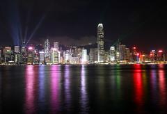 Skyline (twomphotos) Tags: hong kong hongkong china night dusk sunset evening dark skyline light show skyscraper water reflection