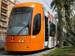 Plaza Puerta Del Mar, Alicante, April 3rd 2010 (Southsea_Matt) Tags: 4202 tram lightrail metro alicante spain plazapuertedelmar fgv canon 10d april 2010 spring bombardier flexity outlook