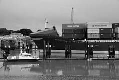"""Die Einfahrt der """"Frederik"""" (1) / Arriving of the `Frederik` (1) (Lichtabfall) Tags: elbe schwarzweiss monochrome blackandwhite blackwhite einfarbig sw bw nordostseekanal brunsbüttel schleuse sluice schiff ship kielcanal boot boat"""