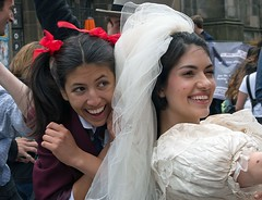 Actresses Publicity (john atte kiln) Tags: women faces edinburgh festival portrait face expressions advertising selling actor actresses theatre stage shows promoting scotland britain uk unitedkingdom people 2018 laughing bride