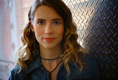 Wallis Currie-Wood (High Water Media) Tags: portrait portraiture actress actor woman backlight diamondplate curledhair ringlets blueeyes soft face opteka50mm fujifilmxm1
