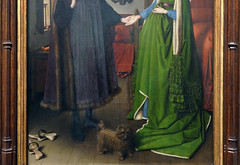 Jan Van Eyck, Lower section detail, The Arnolfini Portrait