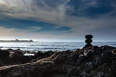 6602 Sundown at Asilomar Beach (foxxyg2) Tags: california sunset sundown asilomar asilomarbeach monterey montereypeninsula sea coast sky rocks rockstacks pimacles cloud evening blue