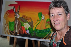 261 2018 harvest painting done by local student (Margaret Stranks) Tags: 261365 365days 2018 harvest hare mice wheat carrots vegetables