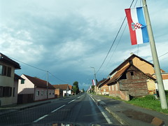 Glina - Flag Central .... Croatia (sean and nina) Tags: glina croatia croatian hrvatska flags lamp post main street town buildings road pavement trees white lines blue sky skies old war conflict legacy trouble rural small deserted empty august 2018 summer warm hot weather outdoor outside