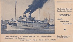 """Koopa"" - river and bay excursion steamer in Queensland - early 1900s (Aussie~mobs) Tags: vintage queensland australia koopa steamer fareschedule advertisement advertisingpostcard redcliffe bribieisland aussiemobs"