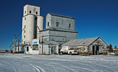 Bennett, Colorado Grain Elevators. (Wheatking2011) Tags: bennett colorado grain elevators old wood elevator warehouses have been torn down concrete left is still standing
