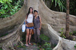 Samantha and Kanitha between the roots of the giant Tualang