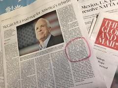 Goodbye Senator McCain. Rest in Peace. You deserve it. (Can Pac Swire (away for a bit)) Tags: tribute passing death senator johnmccain politician political politics american globemail globeandmail newspaper news