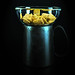 Breakfast cereals in a glass bowl on a metal jug full of milk