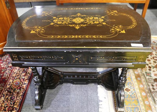 Victorian ebonized Aesthetic Movement lift top writing desk/library table ($252.00)
