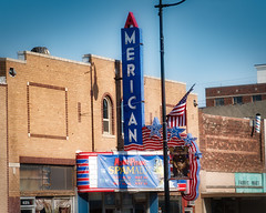 The American (Olden Bald) Tags: oklahoma theater cinema movie palace abandoned old america marque neon sign hollywood popcorn goobers