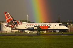 G-LGNH Saab 340B EGPH 24-08-18 (MarkP51) Tags: edinburgh airport scotland edi egph turnhouse airliner aircraft airplane plane image markp51 nikon d7200 aviationphotography sunshine sunny rainbow rain nikon70200f4vr