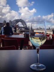 reflection (Mariasme) Tags: reflection bridge sydney wine glass cafe shallowdof challengeyouwinner cyunanimous matchpoint winner mpt655 cy2 gamex3