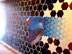 Bird flying to the light. (With Nicole) Tags: bird streetart colours abstract