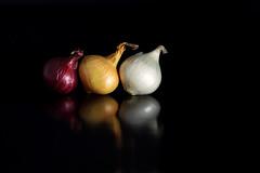 Onions in Miniature 2 (Leslie Victor) Tags: onion blackbackground vegetable reflection vivid food