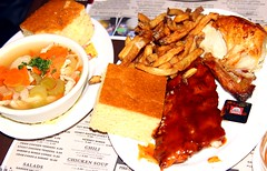 Dallas BBQ - BBQ Ribs & Chicken Combo (Prayitno / Thank you for (12 millions +) view) Tags: konomark dallas bbq bar be que chicken soup corn bread baby back ribs grilled french fries combination combo plate complete dinner food meal dining restaurant diner nyc new york city ny